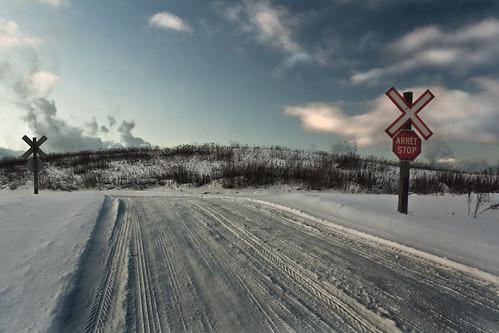 road winter sky snow ontario canada clouds digital canon eos rebel crossing hill atmosphere xs soo northern saultstemarie tiretracks northernontario railwaycrossing algoma billywilson