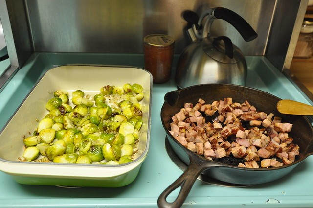 roasted brussels sprouts and ham