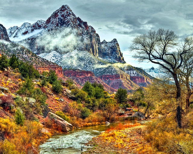 Winter Watchman Zion National Park View On Black If You Flickr Photo