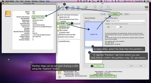 Screenshot showing OS X Disk Utility Partition Map.