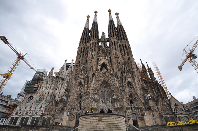 Sagrada Familia - Nativity façade (Cranes partially removed)