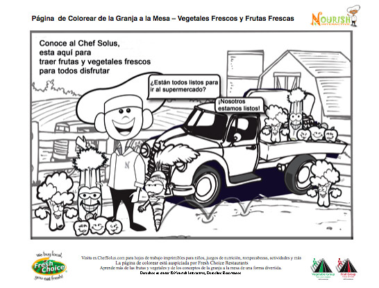 Kids Spanish Nutrition Healthy Food Coloring Page Farm To