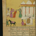 Illuminated Manuscript, Collection of poems (masnavi), A group of Sufis, having stolen a donkey from another Sufi, celebrate in dance and song, Walters Art Museum Ms. W.626, fol. 62a