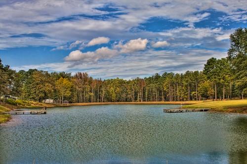 lake clouds georgia dock hdr photomatix topazadjust