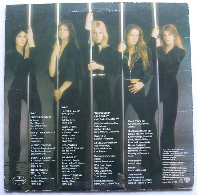 The Runaways Vintage Lp Record Vinyl Album Back Cover