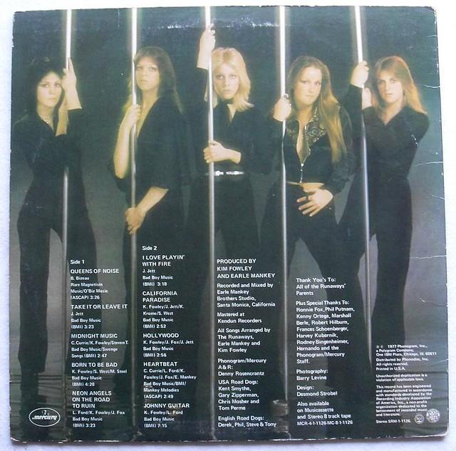 The Runaways Vintage Lp Record Vinyl Album Back Cover