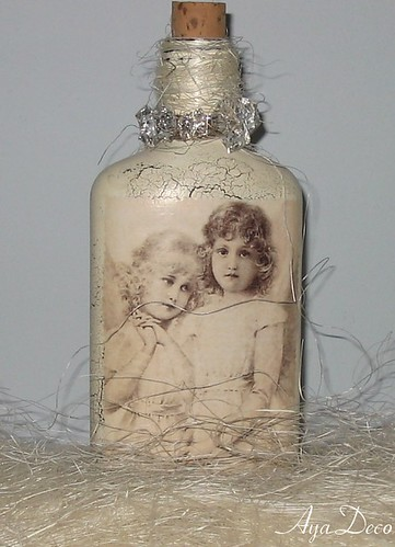 Decoupage Christmas Bottle