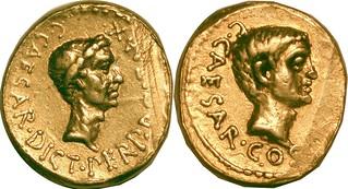 490-2 var. Julius Caesar C.CAESAR DICT PERP Aureus. Octavian C.CAESAR COS PONT AVG.