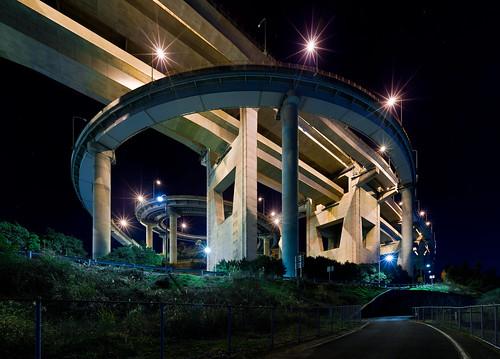 無料写真素材, 建築物・町並み, 道路・道, 夜景, 風景  日本, 高速道路