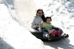 Mommy and Maddy tubing at Hansen's