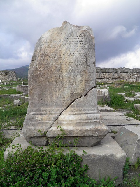 Stone with Greek inscriptions among the ruins of the Temple of Artemis Leukophryene, Magnesia ad Maeandrum, Turkey