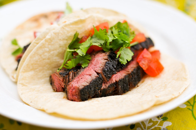 Grilled Chili-Spiced Skirt Steak Tacos with Cilantro Cream Recipe ...