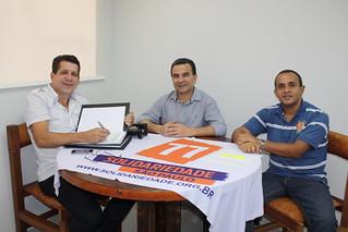 O presidente estadual David Martins, o pré-candidato a federal Carlito Soares e o coordenador regional Fábio Pereira
