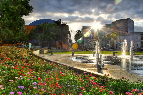 california plaza sunset downtown sanjose fountains hdr plazadeceasarchavez