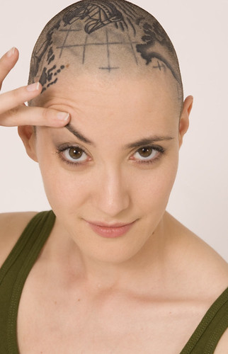 Woman head hair shaved think, that