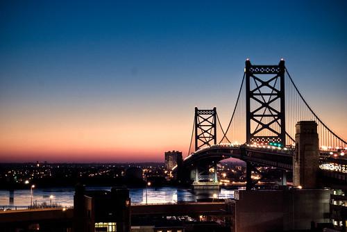 bridge urban sun philadelphia night sunrise river lights franklin ben camden benjamin delaware rise hdr fantasticbridge