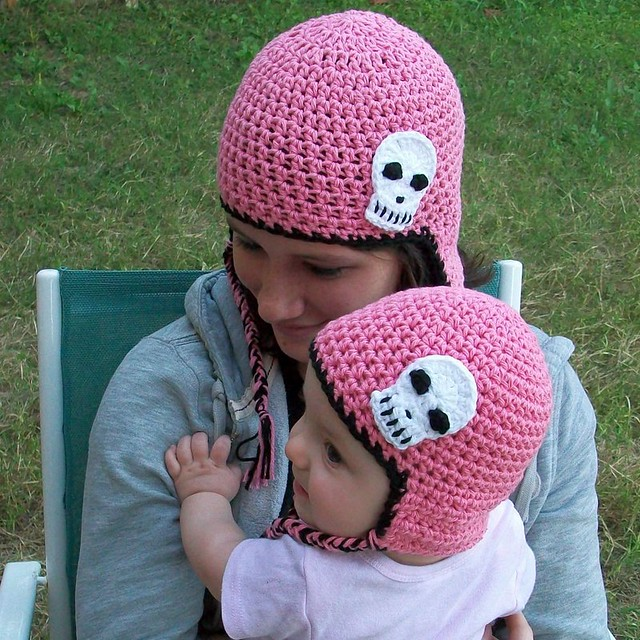 Skull Earflap Hat Set - Mom & Baby