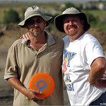 Captain Fidgety (left) and DiscDiver following the Great Orange Disc Hoax.