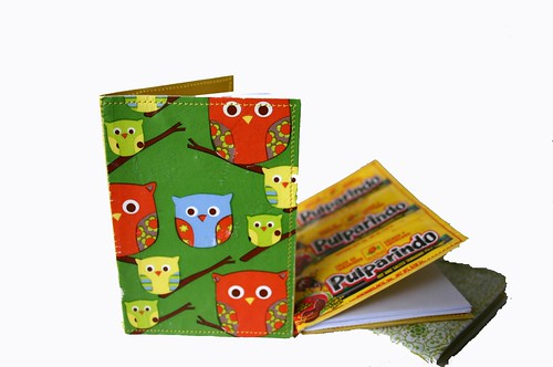 wrapping paper scrap and candy wrapper notebooks