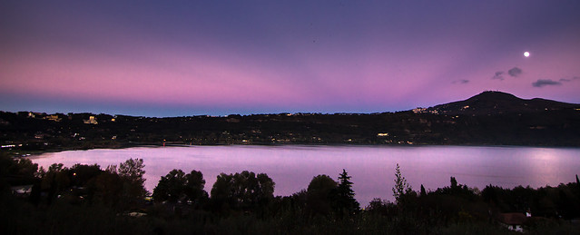 Moonrise over lake Albano