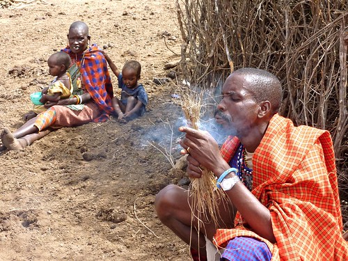 Maasai making fire, Kenya