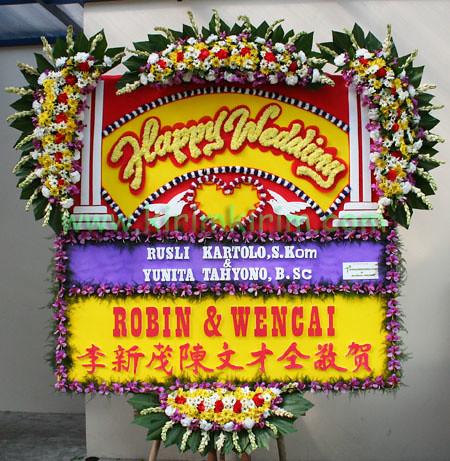 bunga papan ucapan happy wedding 180x200cm flickr