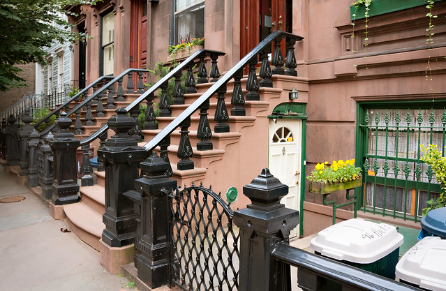 brownstone stoops and ironwork, Hicks Street, Brooklyn Heights, New York