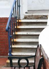 wood, iron, stairs,