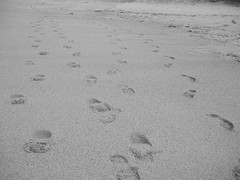 Footsteps in the sand B&W