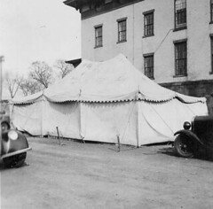 Flood of 1936 - Tent in front of office building