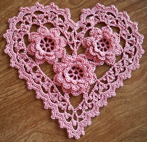 Free Crochet Pattern For Heart Doily : CROCHET IRISH PATTERN ROSE - Crochet Club