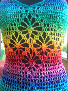 Rainbow Crochet Rhombs Summer Dress