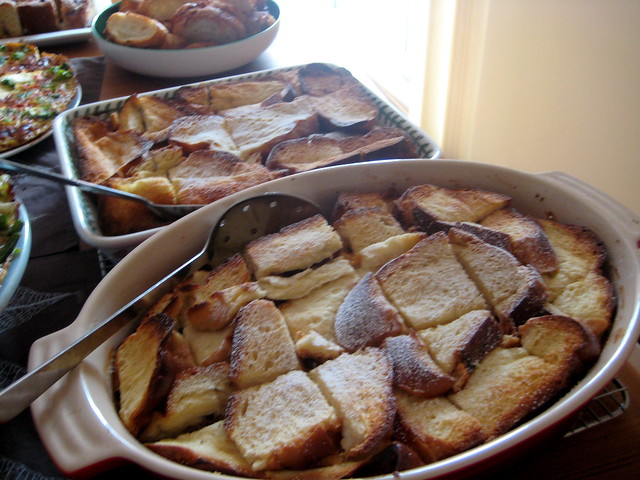 ... french toast with tapenade and arugula salad boozy baked french toast