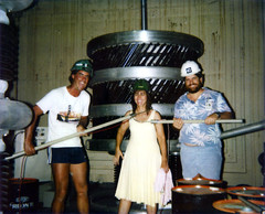 "Randy, Desi, and Mike, in ""The Frankenstein Room"" on Meck Island, 1989"