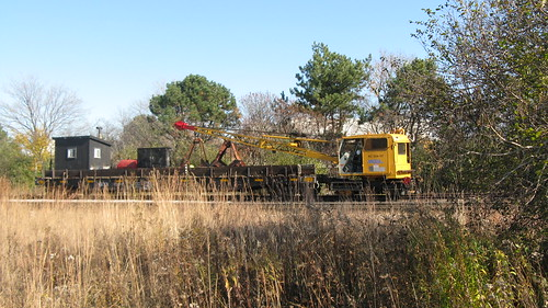 Metra m.o.w Burro crane and boom tender car. Glenview Illinois. Early November 2009. by Eddie from Chicago