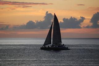 Barbados Sailboat at Sunset