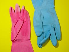 safety glove, formal gloves, textile, yellow, pink, glove,