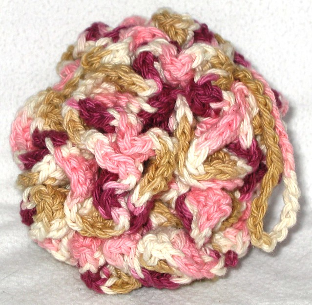 Free Crochet Pattern For Bath Pouf : Hand Made Crochet Cotton Bath Puff - Pink, Purple, Tan ...