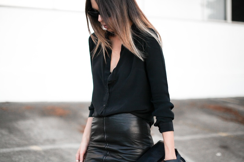 modern legacy fashion personal style blog australia leather pencil skirt KAHLO Proenza Schouler PS11 mini vs classic silk shirt slide sandals street style all black everything (7 of 13)