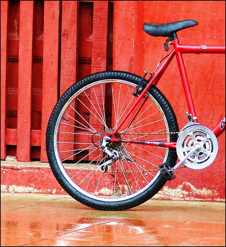 red bike on a rainy day