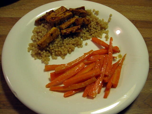 Spicy orange glazed tofu w/Israeli couscous and ginger ...