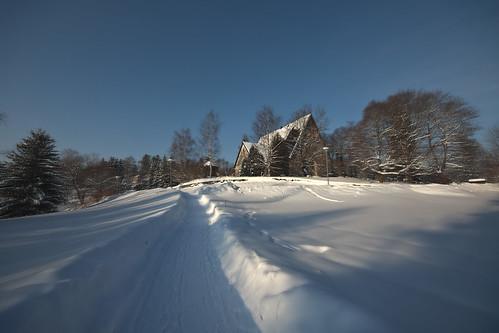 winter snow church espoo finland cathedral dom kirche