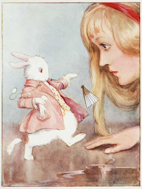 Alice in Wonderland (Illustrator: Tarrant, 1916) Alice meets the White Rabbit