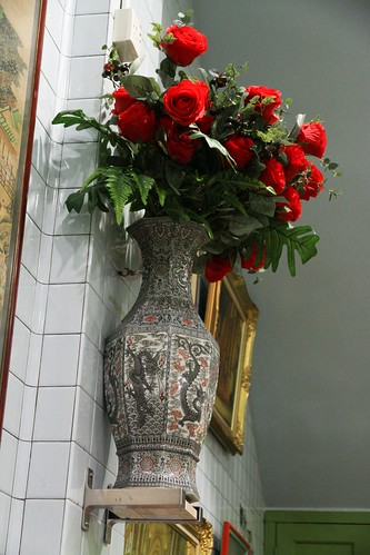Roses on the wall vase