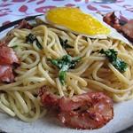 ©Bärlauch-Spaghetti mit Bacon und Spiegelei