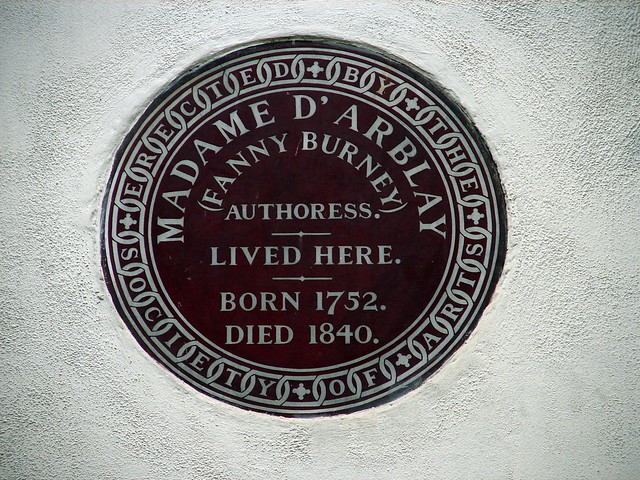 Frances Burney brown plaque - Madame D'Arblay (Fanny Burney) authoress lived here. born 1752 died 1840