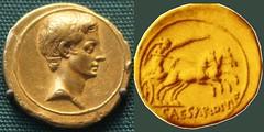 Octavian HCRI 403 Aureus Octavian right Victory galloping biga