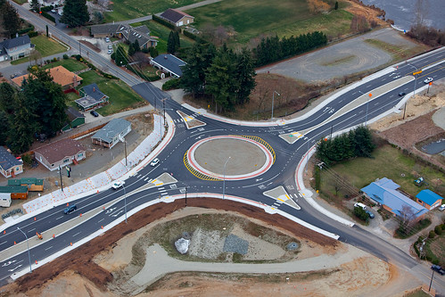 Aerial view of SR 539 Wiser Lake roundabout