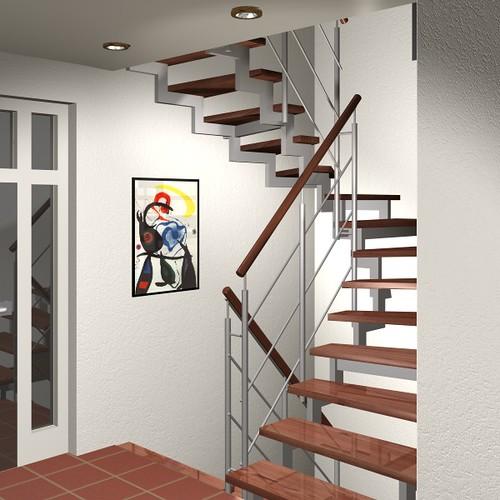 offenes Treppenhaus mit selbstgebauten Treppen