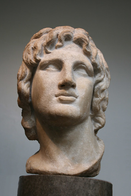 Alexander the Great, marble head of 2nd-1st C. BC